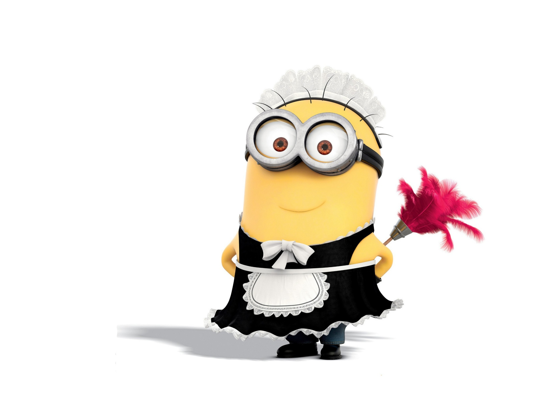 French maid minion with duster