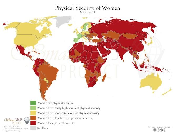 Körperliche Sicherheit von Frauen weltweit