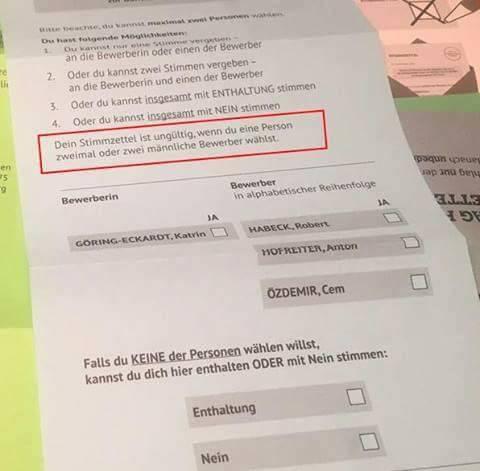 Stimmzettel DieGrünen Frauenquote