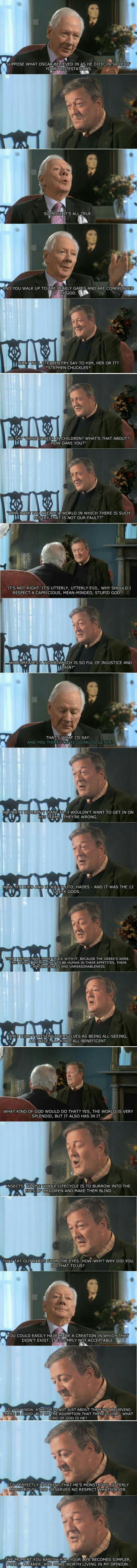 Stephen Fry über Gott, den Himmel und die zweifelhafte Moral eines Gottes, der diese Welt geschaffen hat
