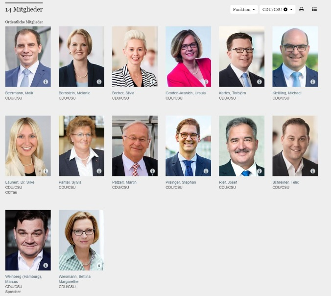 Deutscher Bundestag Ausschuss für Familie Senioren Frauen und Jugend CDU