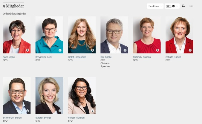 Deutscher Bundestag Ausschuss für Familie Senioren Frauen und Jugend SPD